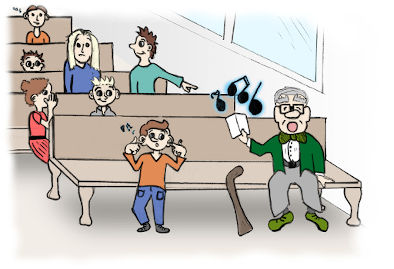 Картинка 2: история – Глухой певец. Дедушка громко поёт.
