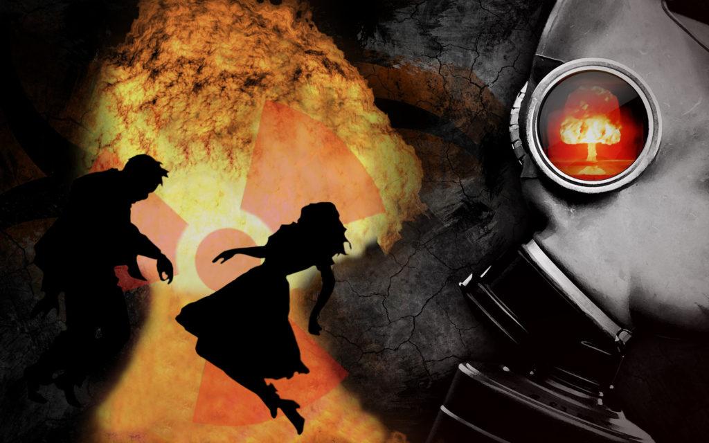 Изображение на тему воображения: взрыв и умирающие люди.